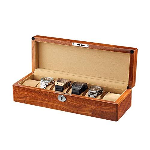 GLXLSBZ Massivholz Uhrenkasten 6 Slots Uhrenhalter Uhrenablage Organizer Gehäuse Samt Stoff Futter für Männer Frauen (Farbe: Beige)
