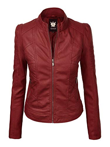 WJC746 Womens Vegan Leather Motorcycle Jacket L RED