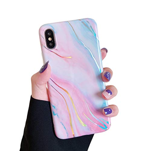 """Cocomii Aurora Marble iPhone XR Case, Slim Thin Glossy Soft Flexible TPU Silicone Rubber Gel Holographic Chrome Streaks Fashion Phone Case Bumper Cover Compatible with Apple iPhone XR 6.1"""" (Pink)"""