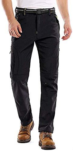 linlon Men's Waterproof Outdoor Fleece Ski Snow Soft Shell Insulated Hiking Cargo Pants,Black 34(Tag 2XL
