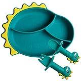 NNGT Juego de Comida de Alimentación de Silicona Juego de Vajilla para Niños Plato de Silicona para Niños Plato de Comida de Dinosaurio de Dibujos Animados Complementario Plato de