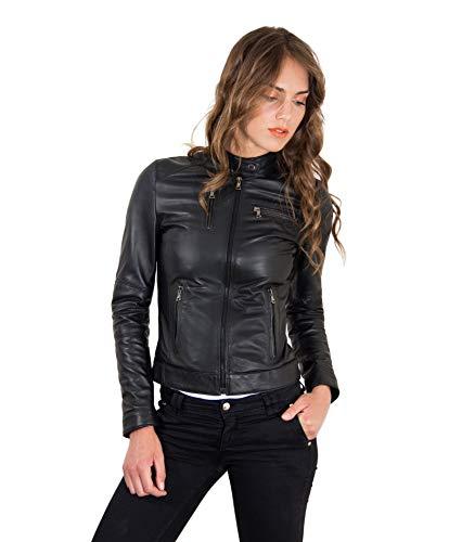Veste en cuir femme noir Made in Italy trois poches