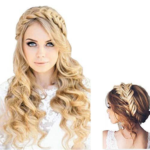 Böhmen Easy Wear Haarbänder Perücke Stirnband dehnbar verstellbare Twist Braid Damen Haarschmuck für Zöpfe, geflochtene Stirnbänder für Frauen Geburtstag Weihnachtsgeschenke (Blond)