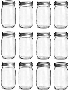 12 pcs, 16 oz Mason Glass Jars with Silver Lids (16 oz)