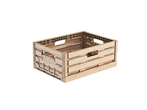 Faltbox im Holzdesign 40x30x16 * Klappbox für Obst, Gemüse * Obstkiste Gemüsekiste Holz Optik