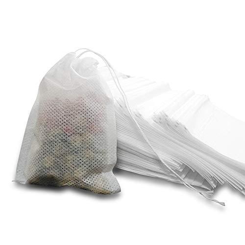 MOAMUN Tè Filtro Usa e Getta, Bustine Infusore Usa e Getta da 600 pz con Carta Biodegradabile e Coulisse Ambientale per tè Sfuso o Tisana(piccolo)