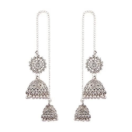 Efulgenz Joyería india de plata oxidada Jhumki cadena borla Jhumka pendientes conjunto para mujeres niñas
