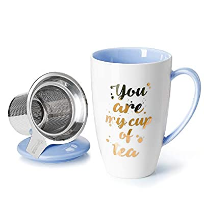 Sweese Porcelain Tea Mug with Infuser and Lid - You Are My Cup of Tea, 15 OZ