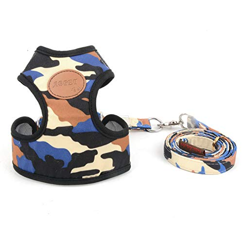 smalllee_lucky_store Small Dog Cat Mesh Harness and Lead no Escape Adjustable Padded Military Camo Blue S