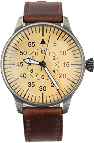 Mil-Tec Luftwaffe Me109 Aviator Vintage German WW2 Flieger Pilot Mens Watch - Military Easy to Read Calfskin Brown Leather Strap 3Atm Analog Quartz