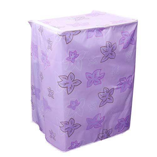 LIOOBO Funda para Lavadora Carga Superior y Secadora Automática Cubierta a Prueba de Polvo Impermeable con Cremallera 55 × 58 × 87 cm (Hoja de Arce púrpura)