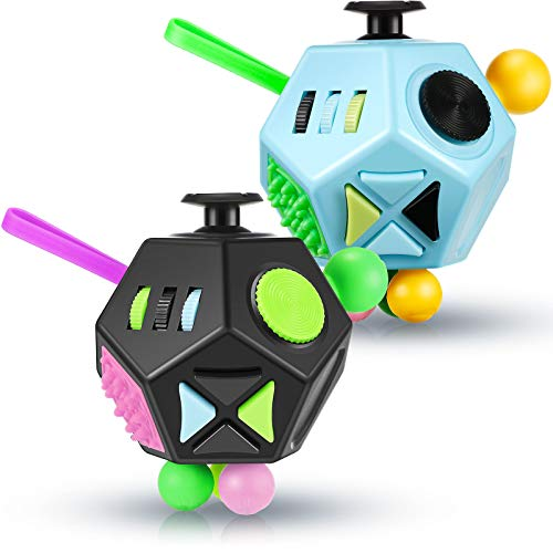 2 Pieces 12 Side Fidget Toy Cube Relieves Stress and Anxiety Fidget Dodecagon Anti Depression Cube for Boys Girls Adults with ADHD ADD OCD Autism (Black Green Purple, Blue Green Black)