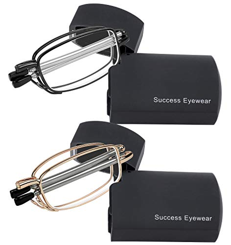 Reading Glasses 2 Pair Readers Compact Folding Unisex Glasses for Reading Case Included Set of Black and Gold +2