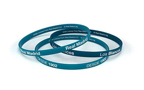 Real Madrid Fußball-Club Classic blau türkis Standard Herrenuhr, Silikon-Armband, Offizielles Lizenzprodukt