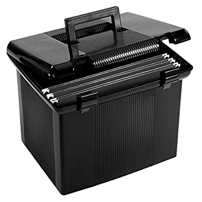 Portable File Box with File Rails, 3 Black Letter Size Hanging Folders Included, Hinged Lid with Double Latch Closure, Black