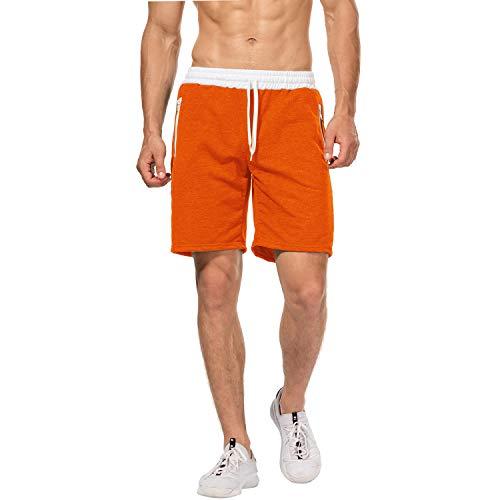 CHYU Herren Sport Joggen und Training Shorts Fitness Kurze Hose Jogging Hose Bermuda Reißverschlusstasch (XL, Orange)