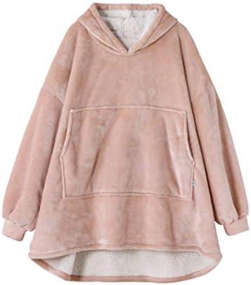 Yukowgu Oversized Warm Wearable Blanket Wrap Super Soft Fluffy Microfiber Sherpa Hoodies Sweatshirt product image