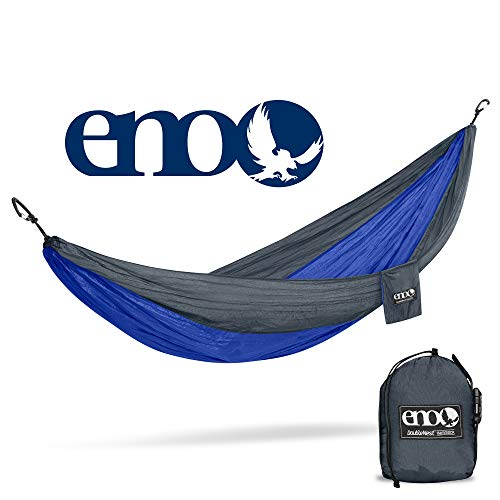 ENO, Eagles Nest Outfitters DoubleNest Lightweight Camping Hammock, 1 to 2 Person, Charcoal/Royal
