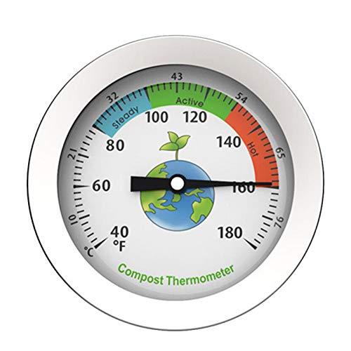 DASNTERED Termómetro de Compost - Termómetro de Suelo Pantalla de dial Termómetro de Compost de Acero Inoxidable Termómetro de Suelo de jardín portátil