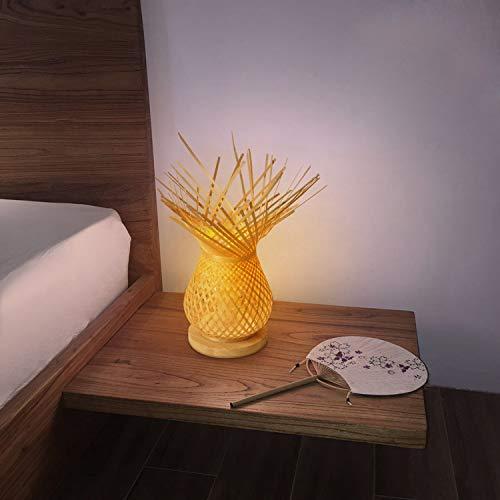 BarcelonaLED Lámpara de mesa Vintage pantalla en mimbre bambú trenzada rústica, base de madera con portalámparas E27 LED para cabecera dormitorio salón escritorio mesita de noche