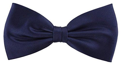 TigerTie Herren Satin Seidenfliege in marine blau schwarzblau Uni, Fliege 100% reine Seide