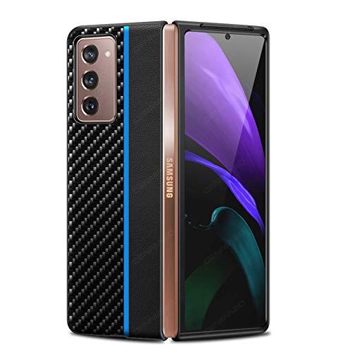 Lidada Funda de fibra de carbono para Z Fold 2 5G | Ultra Slim | Ligero | Resistente a los arañazos | Carga inalámbrica | Funda compatible con Samsung Galaxy Z Fold 2 5G Case (2020) -Azul