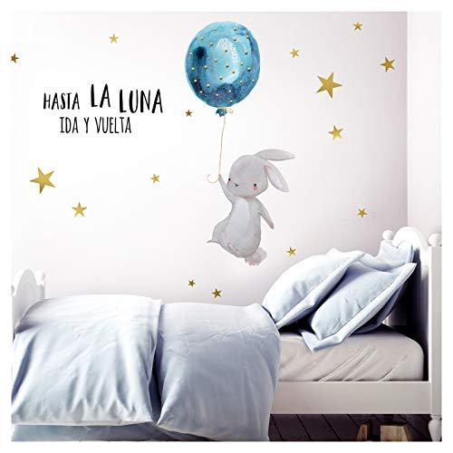 Little Deco Pegatina de Pared hasta La Luna & Liebre con Globo I L - 174 x 102 cm (an x al) I Vinilo Adhesivo Decorativo para Cuartos Cuarto del bebé DL253