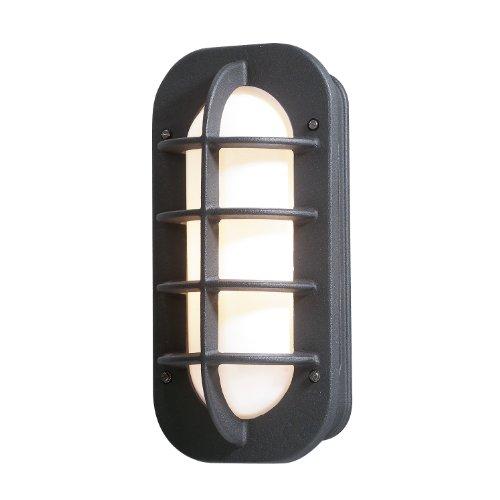 Konstsmide Loke 514-752 wandlamp / B: 19 cm D: 10 cm H: 36 cm / 1x60 W / IP23 / gelakt aluminium / mat zwart / met stopcontact