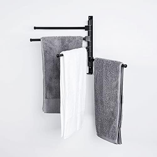 Heilmetz 180° Drehung Handtuchhalter Schwarz Handtuchhaken Handtuchhalter mit 4 Armen Handtuchhalter Badezimmer Wandmontage Bohren oder Selbstklebende Installation (1 Stück)