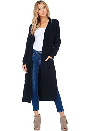 AD Womens Casual Longline Knit Cardigan Sweater W Side Slit (Black, Medium/Large)