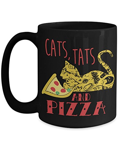 CATS, TATS AND PIZZA -Persian Cat lover inspirational mug for teacher -Animal lover dog rescue presents as seen on paws kitten meow parody funny tshirt - House-warming/wedding gift for couple, Cup