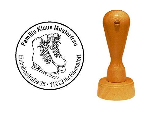 Stempel Holzstempel Motivstempel « SCHLITTSCHUHE » Durchmesser ca. Ø 40 mm - mit persönlicher Adresse und Motiv - Eiskunstlaufen Eisschnelllauf Eissport Winter Wintersport