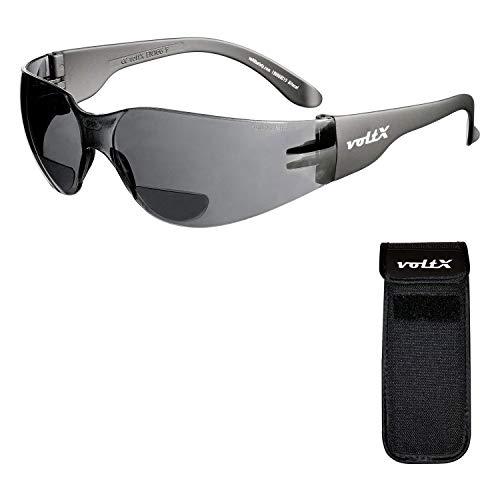 voltX 'GRAFTER' Bifocale Lichtgewicht Leesbril (ROOKKLEURIG/GRIJS +2.0 Dioptrie Lens) Fietsbril CE EN166f Gecertificeerd + UV400 Lens met Anti-Condens Coating + Halfharde Uittrekbare Veiligheidshoes