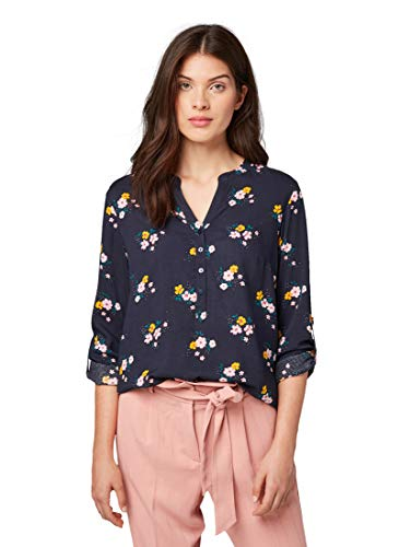 TOM TAILOR Damen Blouse Printed, Bluse, Blau (Navy Flower Design 19120), (Herstellergröße: 38)