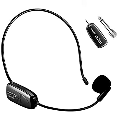 XIAOKOA Wireless Microphone Headset, 2.4G wireless Handheld and Headset 2 in 1 Rechargeable Mic with Wireless Receiver for Voice Amplifier, Stage Speaker, Public Speaking and Teaching