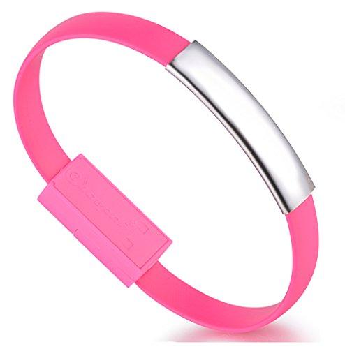Unendlich U Infinito U- Pulsera Plastica Acero Inoxitable para Hombre Brazalete Cable de Carga Micro USB Cable de Datos para Celular Android y más Smartphone