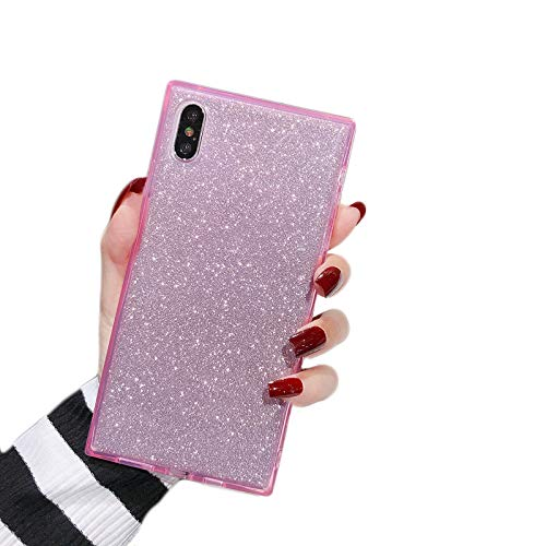 """Cocomii Square Glitter iPhone XR Case, Slim Thin Glossy Soft Flexible TPU Silicone Rubber Gel Trunk Box Square Edges Fashion Phone Case Bumper Cover Compatible with Apple iPhone XR 6.1"""" (Pink)"""