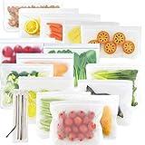 Massway Reusable Storage Bags, (9Reusable Sandwich Bags+6Reusable Snack Bags) Easy Seal Reusable Ziplock Bag Reusable Freezer Bags+ Bonus Stainless Steel Straws for Food Storage Home Organization
