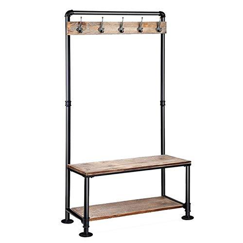YAN FEI Perchero vintage 3 en 1, con 6 ganchos industriales, para pasillo industrial, para entradas, zapatero, marco de metal, perchero resistente (color: negro, tamaño: 80 x 40 x 161 cm)