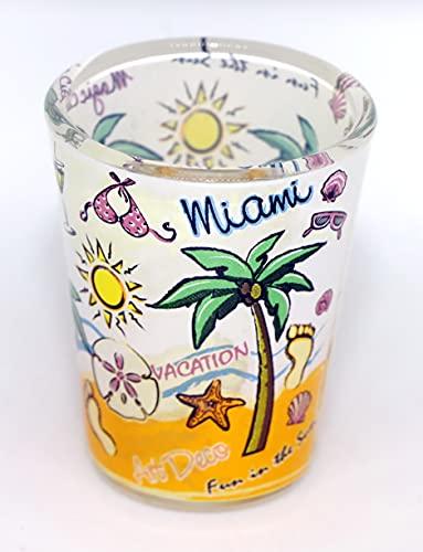 Miami Florida Palm Pop Art Wraparound Shot Glass