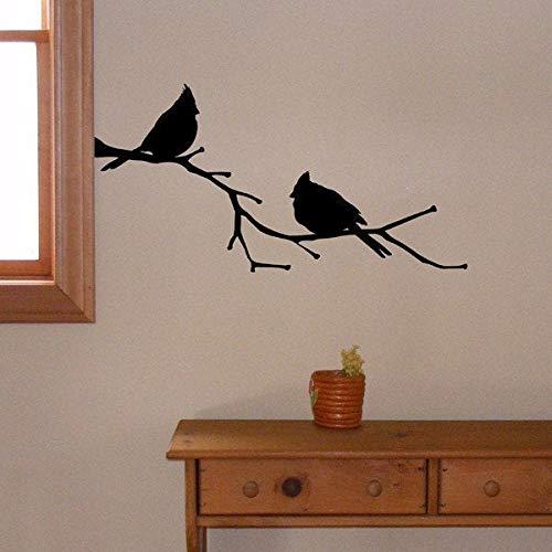 Wall Art Kardinaal Vogels op een tak, Vinyl Muursticker, Kardinaal Decor, State Bird Silhouette Eenvoudig aan te brengen