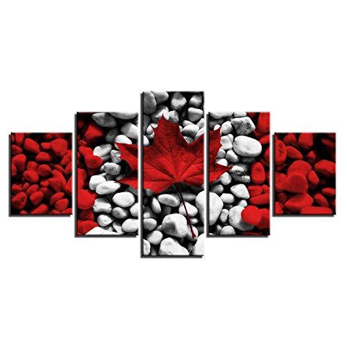 VGFGI 5 Stücke Ahorn roter Stein abstrakte kanadische Flagge drucken Bild HD Leinwand Kunst Gemälde für Wohnzimmer Wanddekoration