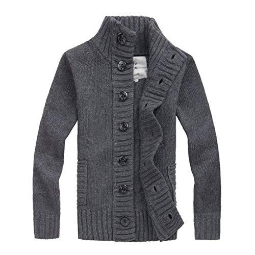 qulvyushangmaobu Chaqueta de Punto para Hombre suéter de Cuello Alto Chaqueta de Cuello Alto Chaqueta de Invierno Cuello Alto Chaqueta Casual Adecuada para Botones Chaqueta de diseño básico Chaqueta