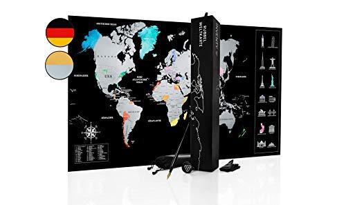 Inventy® Weltkarte zum Rubbeln in Wasserfarben Design - Rubbel Weltkarte in Deutsch (43,5 x 80 cm) inkl. Geschenkverpackung - Landkarte zum Rubbeln in Silber/Schwarz