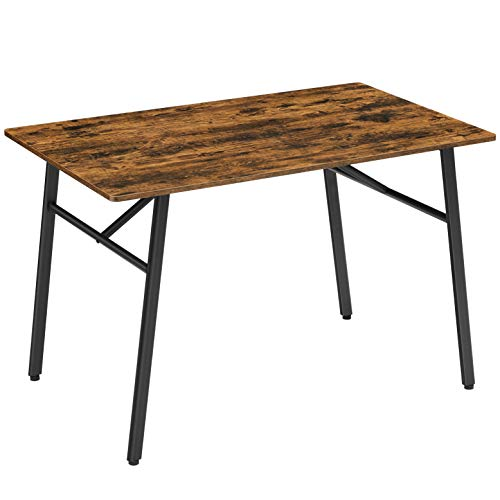 VASAGLE Dining Table for 4 People, Kitchen Table, 120 x 75 x 75 cm, for Dining Room, Kitchen, Sturdy Metal Frame, Industrial Style, Rustic Brown and Black KDT076B01