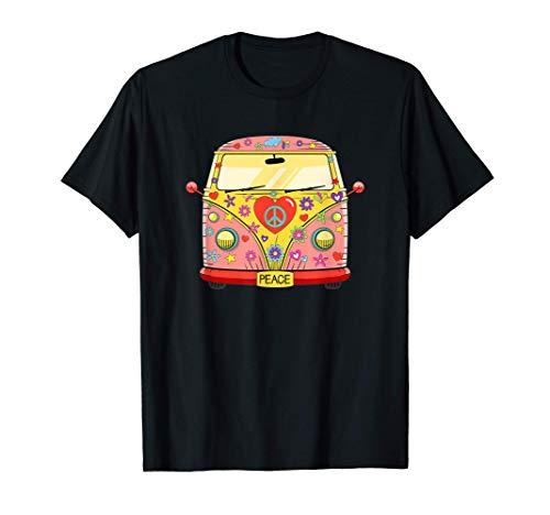 Años 60 70 Hippie Van, Flores, Amor, símbolo de Paz Libertad Camiseta