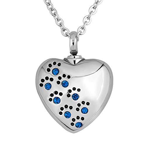 Cherris Jewellery Collar de urna con diseño de corazón de cremación para cenizas y urnas conmemorativas, Acero inoxidable,