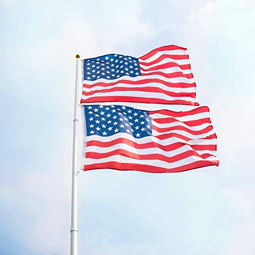 Peach Tree Telescopic Flag Pole Portable Commercial Flag Pole Outdoor Garden American Inground Finial Flagpole Set Heavy Duty Aluminum with two USA flags, Silver (20ft)