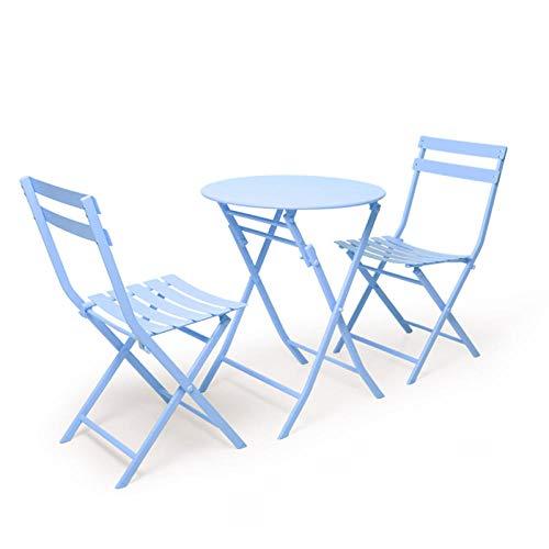 RENEO Mesas auxiliares de salón Modernas, Juego De Hierro Forjado para Balcón Plegable De Jardín, Juego De 3 Piezas De Taberna-Azul_Mesa Cuadrada