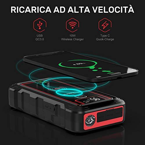 YABER Avviatore Batteria Auto, 2500A 23800mAh Avviatore Emergenza per Auto (Adatto a Tutti i Veicoli a Benzina o 8.0L Diesel), 10W Caricatore Wireless con Torcia LED, Tipo C